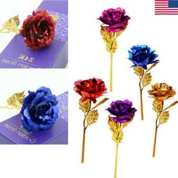 24k Gold Plated Rose Flowers Anniversary Mothers Day Wife Gi