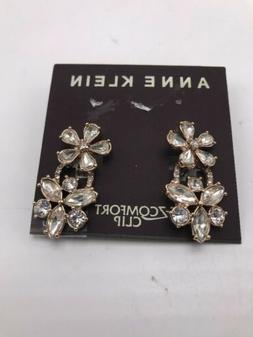 $28 anne Klein rose gold tone crystal flower clip on double