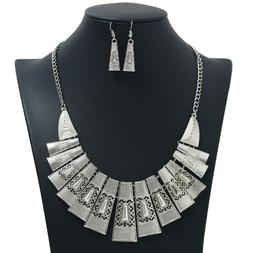 2pc Ethnic Style Women's Alloy Hollow Out Necklace Earrings