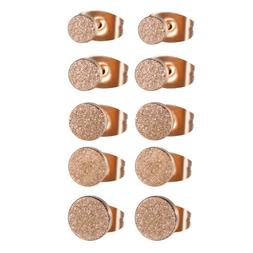 2pcs Women's Charm Rose Gold Tone Frosted Stainless Steel Ro