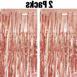 2pk ROSE GOLD Foil Fringe Curtains Metallic Tinsel Window Do