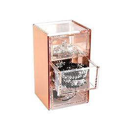 3 Drawers Rose Gold Acrylic Desk Organizer Jewelry Box Acces