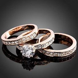 3-In-1 Women's CZ Wedding Ring Set White/Yellow/Rose Gold Fi