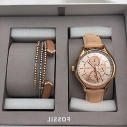 FOSSIL 3 PC SET ROSE GOLD,TAN LEATHER BAND,CRYSTAL WATCH+2 B