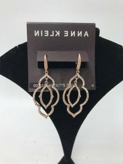 $30 Anne Klein rose gold tone clip on Crystal Orbital double