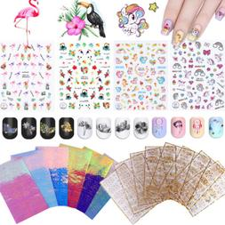3D Nail Art Stickers Adhesive Rose Gold Silver Holo Flamingo