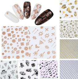 3D Nail Stickers Rose Gold Silver Black Ink Painting Flower