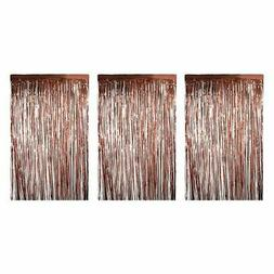3x Rose Gold Metallic Fringe Curtains Party Decoration Weddi