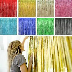 3x8FT Metallic Foil Fringe Curtain Backdrop Photo Props Wedd