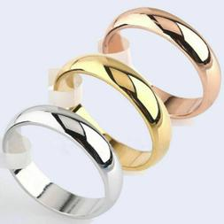 4mm Round 10K Yellow White/Rose Gold Plated Ring Men/Women's