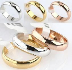 4mm Round Gold Silver Rose Gold Plated Ring Men/Women's Wedd