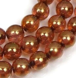 50 Czech Glass Round Beads -  Luster Rose / Gold Topaz 6mm
