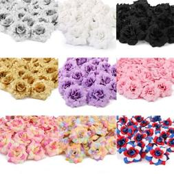 50Pcs Artificial Fake Rose Silk Flower Head Wedding Party Ho