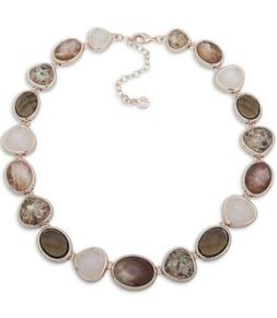 $55  Anne Klein rose gold tone multi stone collar necklace