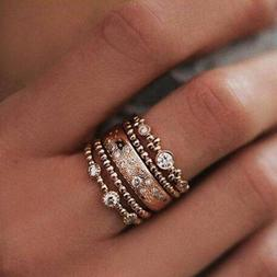 5Pcs/Set Crystal Rose Gold Stackable Ring 5 Sparkly Rings Vi
