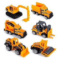 Hehy Play Trucks- 6 Pack Metal Construction Vehicles Inertia