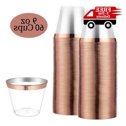 60 Rose Gold Plastic Cups, 9oz Clear Party Cups, Disposal Ol