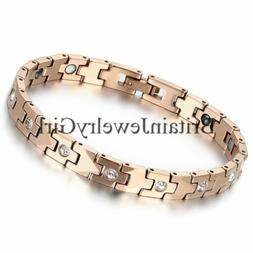 7.4 Inches Fashion Women's Rose Gold Tone Tungsten Magnetic