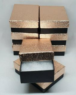 8pk Rose Gold Cotton Filled Jewelry Packaging Gift Boxes Wed