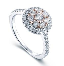 925 STERLING SILVER ROSE GOLD HALO CZ WOMEN'S ENGAGEMENT RIN