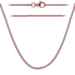 .925 Sterling Silver Rose Gold Plated Chain 2mm w/Lobster Cl