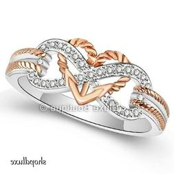 925 Sterling Silver Rose Gold Plated Infinity Knot Heart Pro