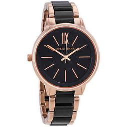 Anne Klein Women's AK-1412BKRG Rose-Gold Resin Japanese Quar