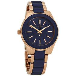 Anne Klein Women's AK3214NVRG Rose Gold-Tone and Navy Blue R