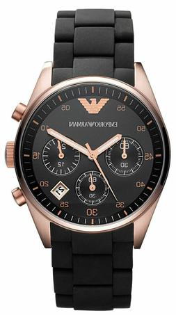 Emporio Armani Black/Rose Gold Quartz Analog Unisex Watch AR