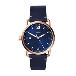 Fossil Men's Commuter Navy Blue Leather Strap Blue Dial Watc