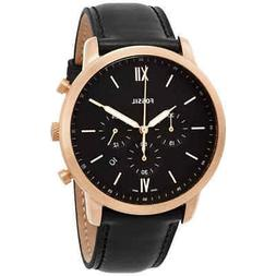 Fossil Original FS5381 Men's Neutra Black Leather Watch 44mm