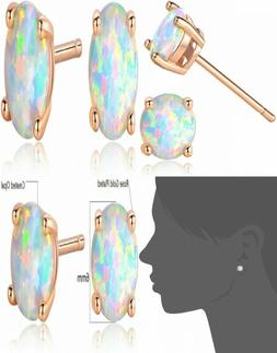 GEMSME 18K Rose Gold Plated Opal Stud Earrings 6MM Round For
