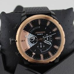 NEW AUTHENTIC DIESEL STRONGHOLD BLACK ROSE GOLD CHRONOGRAPH