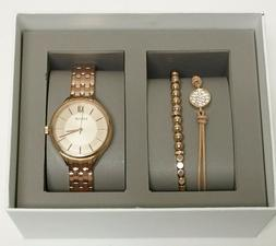 NEW FOSSIL ROSE GOLD TONE WOMAN'S WATCH & BRACELET GIFT SET