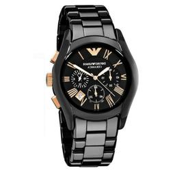 New In Box Emporio Armani AR1410 Mens Black Rose Gold Cerami