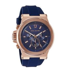 New Michael Kors Dylan Rose Gold Navy Blue Chronograph Silic