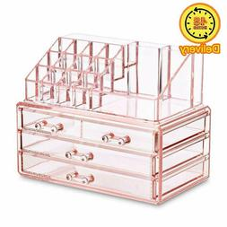 acrylic pink jewelry and cosmetic storage display