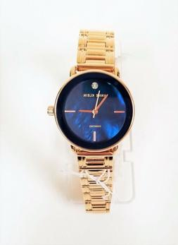 ANNE KLEIN AK2496 ROSE GOLD  NAVY BLUE Mother of Pearl Face