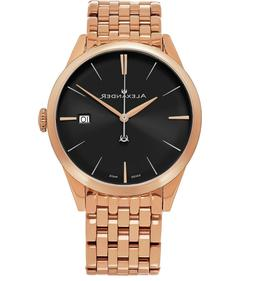 Alexander Men's Swiss Made Rose Gold Stainless Steel Link Br