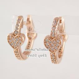 ALLURING HEARTS Authentic PANDORA Rose GOLD Plated Earring H