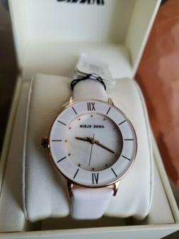 Anne Klein Women's White Leather Band Rose Gold Tone Steel C