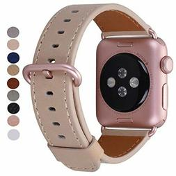 Apple Watch Band Rose Gold Metal Clasp Genuine Leather IWatc