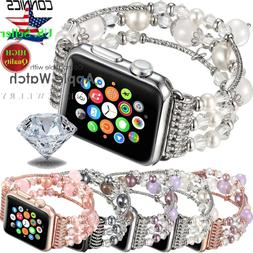 For Apple Watch Series 5 4 44MM Bling Agate Beads Strap Brac