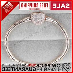 Pandora Authentic Rose Gold Chain Bracelet with HEART CLASP