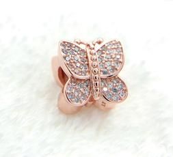 authentic rose gold charm 781257 sparkling butterfly