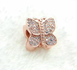 Authentic Pandora Rose Gold Charm Sparkling Butterfly Bead 7