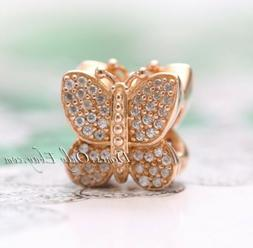 authentic rose gold sparkling butterfly clear cz