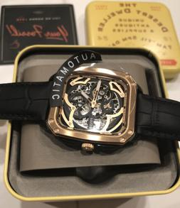 Fossil Automatic Inscription Black Leather Rose Gold Black S