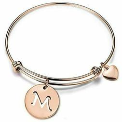 Zuo Bao Bangle Rose Gold Initial Disc Expandable Wire Bracel