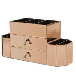 Beautify Large Mirrored Rose Gold Cosmetic Makeup Organizer